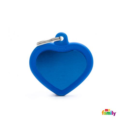 HUSHTAG - ALUMINIUM BLUE HEART WITH BLUE RUBBER