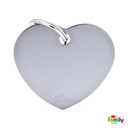 ID TAG BASIC COLLECTION BIG HEART GREY IN ALUMINUM