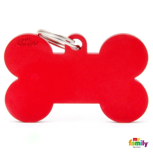 ID TAG BASIC COLLECTION BONE XL RED IN ALUMINIUM