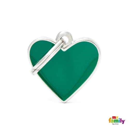 BASIC HANDMADE SMALL GREEN HEART ID TAG