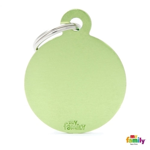 ID TAG BASIC COLLECTION BIG ROUND GREEN IN ALUMINUM