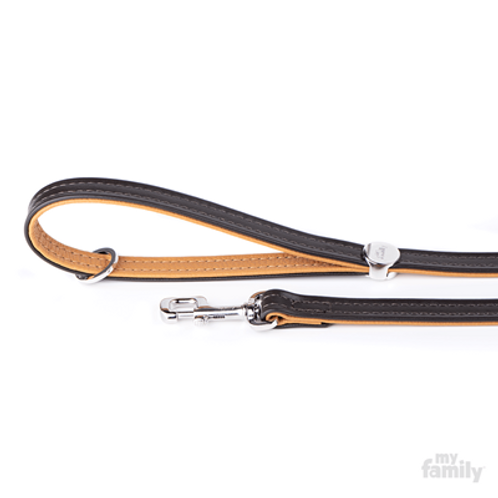 HERMITAGE LEASH BROWN LEATHER WHITE BRONZE FINISHING