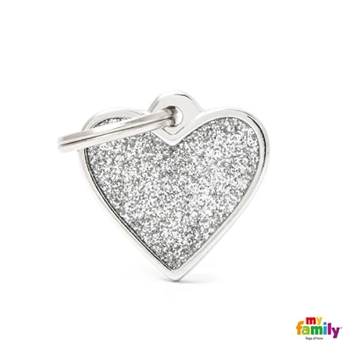 "SHINE ""SMALL HEART GREY GLITTER"" ID TAG"