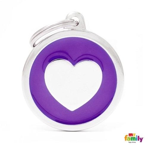 CLASSIC BIG PURPLE CIRCLE HEART ID TAG