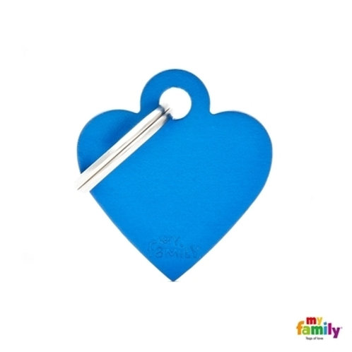 ID TAG BASIC COLLECTION SMALL HEART BLUE IN ALUMINUM