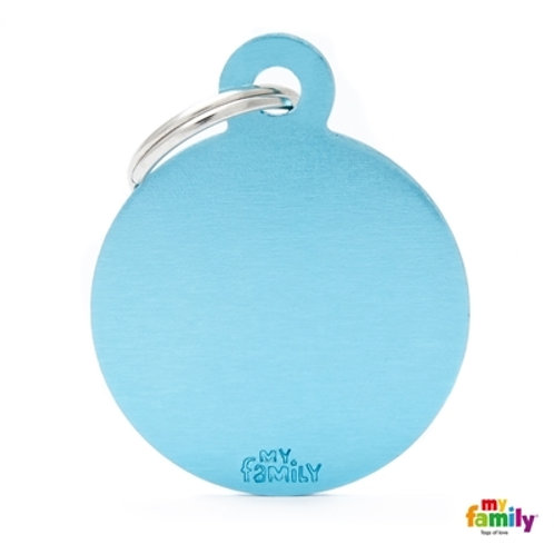 ID TAG BASIC COLLECTION BIG ROUND LIGHT BLUE IN ALUMINUM