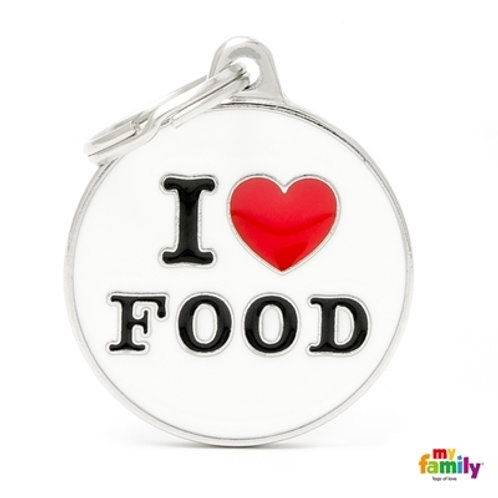 "ID TAG BIG CIRCLE ""I LOVE FOOD"""