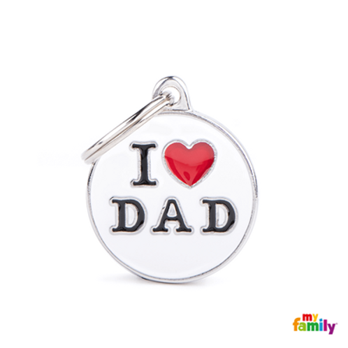 "ID TAG MEDIUM CIRCLE ""I LOVE DAD"""