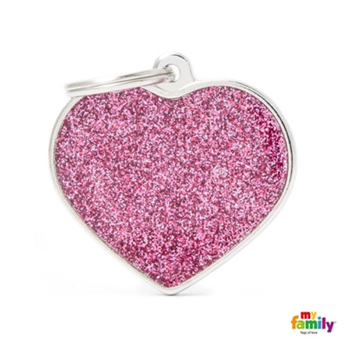 "SHINE ""BIG HEART PINK GLITTER"" ID TAG"