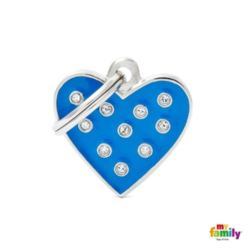 """CHIC """"BLUE HEART STRASS"""" ID TAG"""