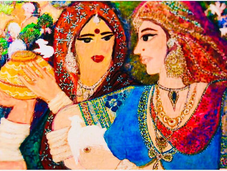 """Traditional Cultural Rajasthan Art """"16X20"""" Acrylic Painting"""