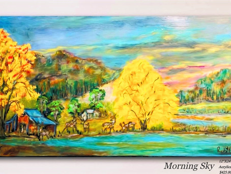 """Morning Sky"" ~ Handmade Acrylic Painting ""12X24"""