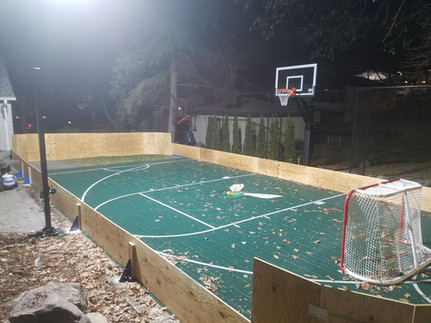 Plywood Rink on Sports Court