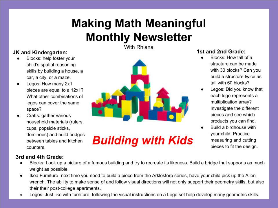Making Math Meaningful- Building with Kids