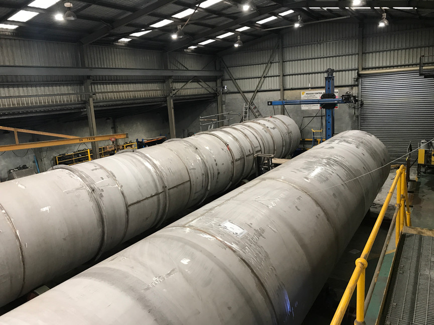Fabrication and installation of liner inside Mundaring weir including rope access welding