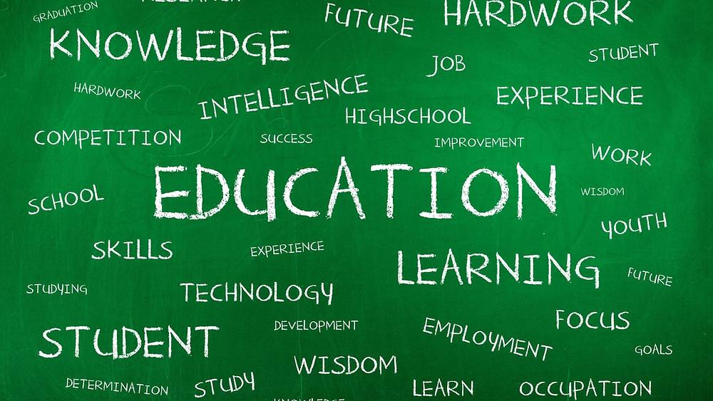Lousa escrito Educação