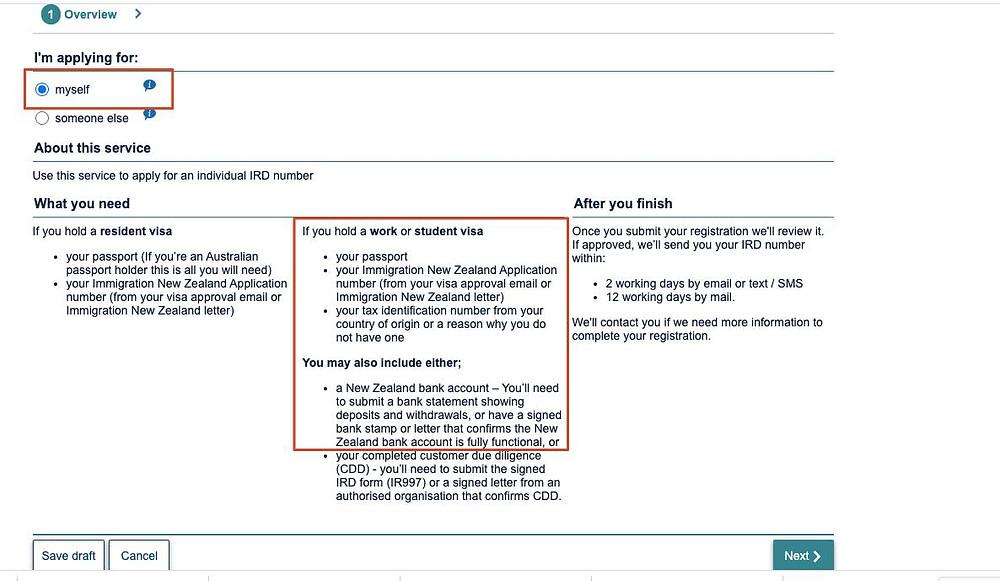 Formulário online IRD - Inland Revenue