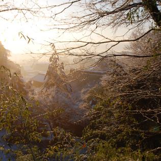 冬の朝 山頂から本堂と朝日 東京・八王子市 真言宗 玉泉寺
