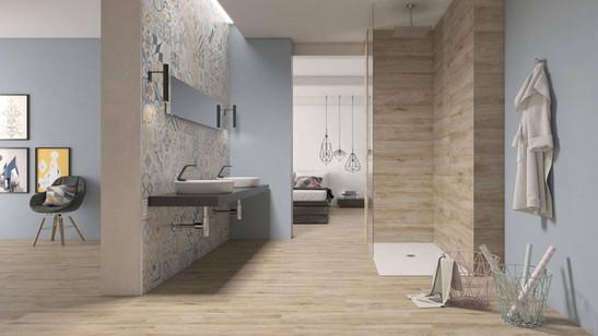 Retrotegel en keramisch parket badkamer