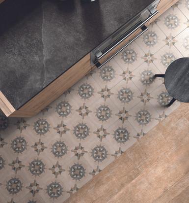 Retro tegel in combinatie met keramisch parket keuken/living