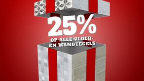 SSSolden - 25% op alle vloer- en wandtegels.