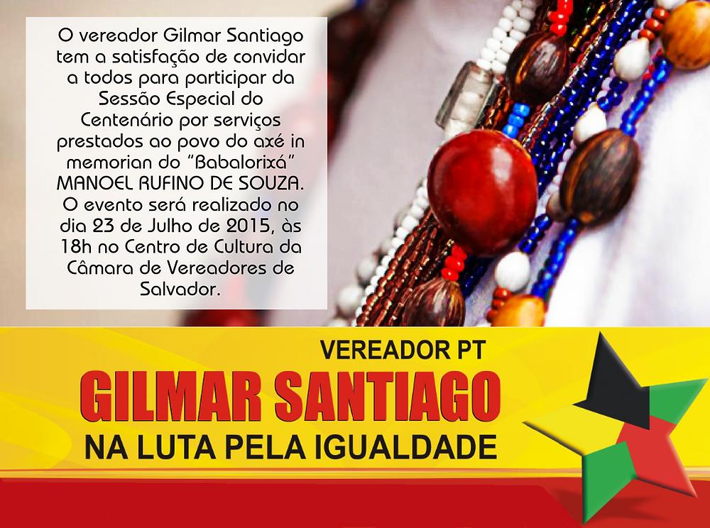 Convite para sessão especial do vereador Gilmar Santiago