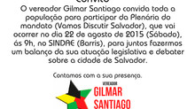 Plenária do mandato do vereador Gilmar Santiago: Vamos Discutir Salvador