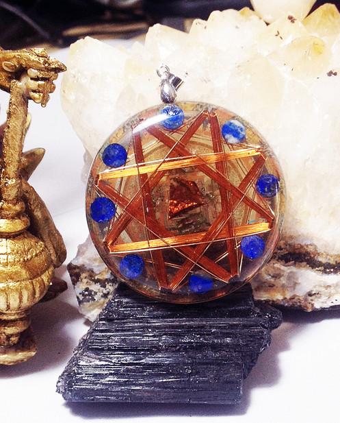 Kalachakra 14k Gold Protective Crystals Empowerment 8 Vorte Golden EMF  Protector