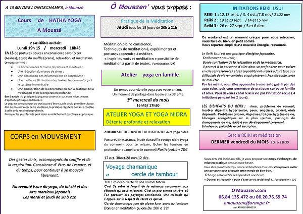 flyer programme reiki et yoga 4eme trime