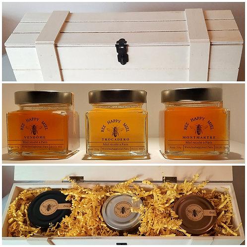 """Coffret 3 pots de Miel """"Premium"""" récolté à Paris"""
