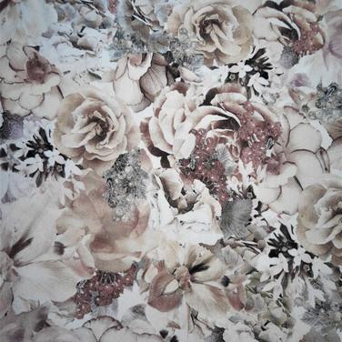 Jersey braun-rosa-Blumen