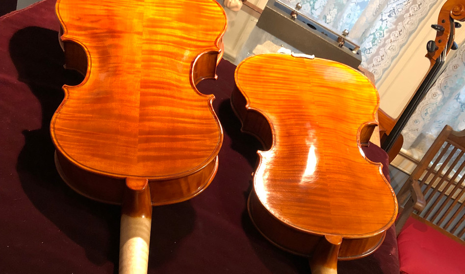 Two of my Ascona model violas, a two piece and one piece back.
