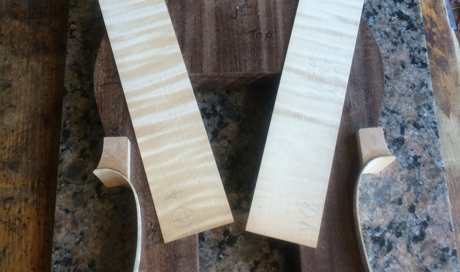 Upper bout ribs ready to be glued onto form.