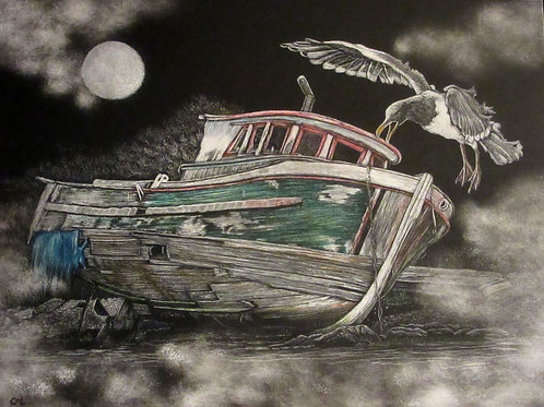 """""""By the Light Of the Moon / Boat and Seagull"""""""
