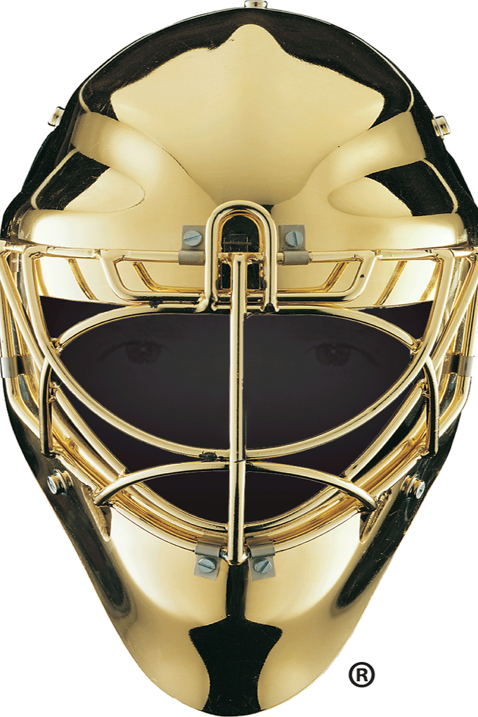 Gold in the Net Goalie Mask