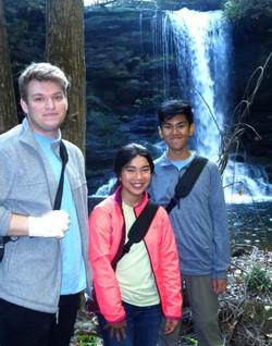 matthew hikes down waterfall