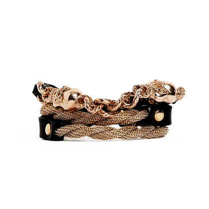 'SKULL' TRIPLE WRAP - PINK GOLD - BLACK