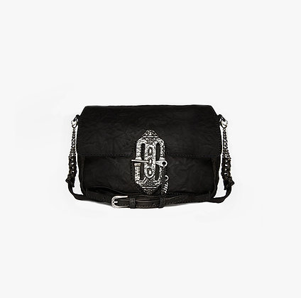 CROSS-BODY - BLACK - ANTIQUE SILVER