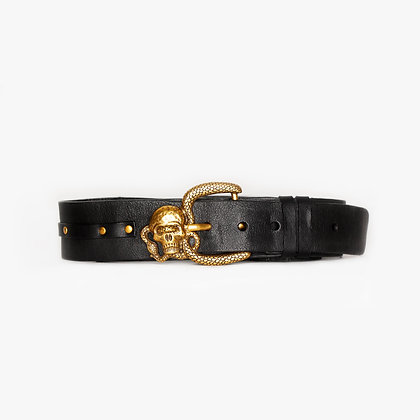 'SNAKE 'N EYE SKULL' BELT - ANTIQUE GOLD - BLACK