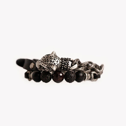 'LEOPARD HEAD WITH LEATHER' - ANTIQUE SILVER -  MATTE ONYX, LAVA & GARNET