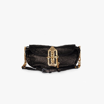 'JOURNEY' MINI-CROSS - BODY - BLACK LEATHER - ANTIQUE GOLD