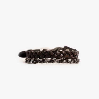 'ROPE & HAND BRAID' DOUBLE WRAP - ANTIQUE SILVER - CHOCOLATE