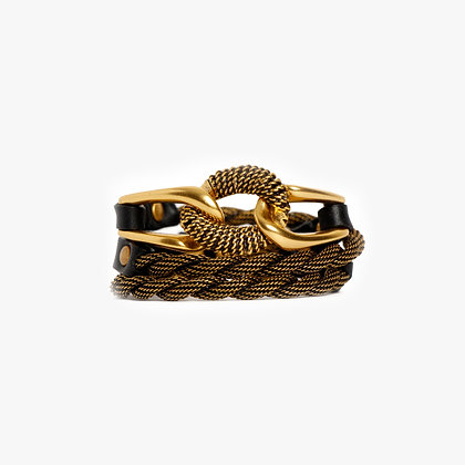 'EQUESTRIAN' TRIPLE WRAP - ANTIQUE GOLD - BLACK