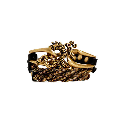 'DRAGON' TRIPLE WRAP - ANTIQUE GOLD - BLACK