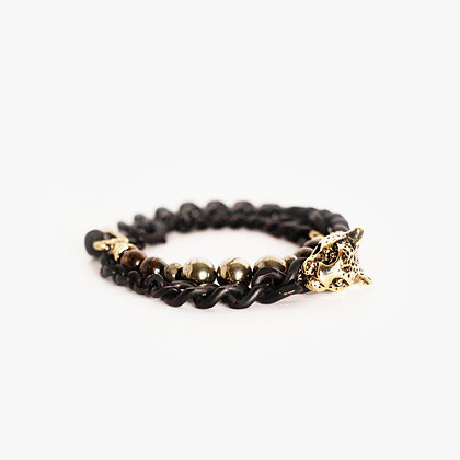 Leopard Head Double Wrap - Blond Gold - Bronzite