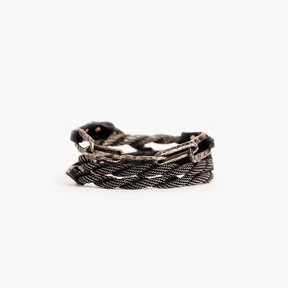 'HAMMERED CHAIN' TRIPLE WRAP - ANTIQUE SILVER - BLACK