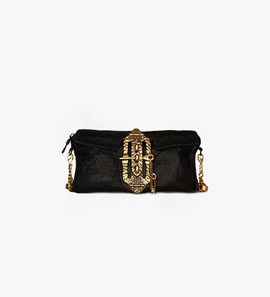 'JOURNEY' CLUTCH - BLACK - ANTIQUE SILVER