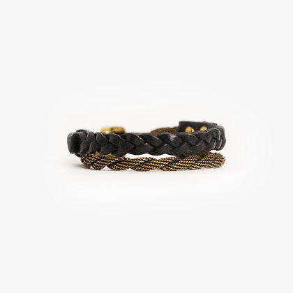 'ROPE & HAND BRAID' DOUBLE WRAP - ANTIQUE BRONZE - BLACK