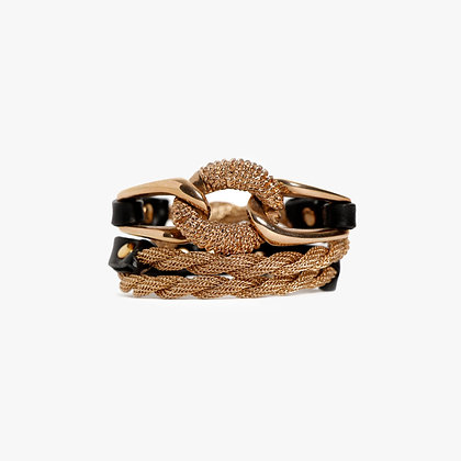 'EQUESTRIAN' TRIPLE WRAP - PINK GOLD - BLACK