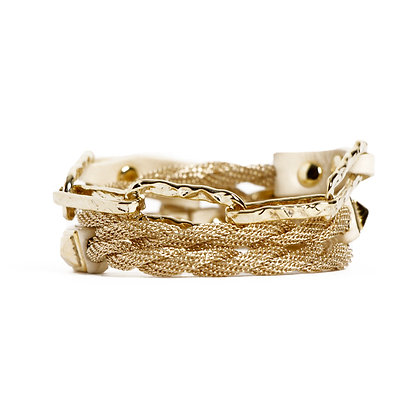 'HAMMERED' TRIPLE WRAP BLOND GOLD - BONE